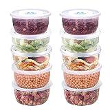 BUYGOO 12Pcs Mini Frischhaltedose Kleine Aufbewahrungsbox für Lebensmittel - 400ml Rund Babynahrung Aufbewahrungsbehälter mit Deckel, Mini BPA-frei Tiefkühldose Gefrierbehälter, Mikrowelle