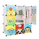 Bamny Kinderzimmer Kleiderschrank, Aufbewahrungsregal für Kleidungen Schuhe Spielzeuge, DIY...