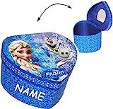 alles-meine.de GmbH Schmuckkasten - mit Spiegel & Glitzer -  Disney die Eiskönigin - Frozen / Herz  - incl. Name - Mädchen - Utensilo - Kinderzimmer - z.B. für Schmuck - Schmuc..