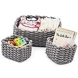 EZOWARE 3er Pack Baumwolle Aufbewahrungskorb, Strickkorb Organisatoren für die Babyzimmer, Speicherung Kleiner Haushaltsartikel, Wohnzimmer (Grau)