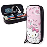Hello Kitty Cartoon Anime Cute Cat Pink Pencil Case for Adults and Students Buggy Pouch Zipper Leather Pen Case Makeup Pouch for Pencils Pens Markers.