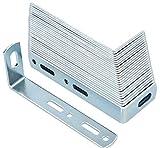 KOTARBAU® Wandbefestigung 90 x 35 x 15 mm Stahl Kippsicherung Bauwinkel Schrankbefefestigung Möbelverbinder Verzinkt Holzverbinder Montagewinkel Winkel (50)