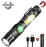 Taschenlampe, Magnet Arbeitsleuchte Wiederaufladbar (18650 Batterie Inklusive) 4 Modi Zoombar...