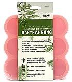 Behälter | Gefrierform | Silikonform zum Einfrieren und Aufbewahren von Babybrei | Babynahrung | Beikost | 9 x 75ml, ideale Portionsgröße (Orange)