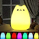 Nachtlicht Kind , Omitium Silikon LED Nachttischlampe mit 7 Beleuchtung Touch USB-Ladeoption Nachtlicht Baby für Kinderzimmer Kindergeburtstag Schlafzimmer Wohnräum Geschenk Deko
