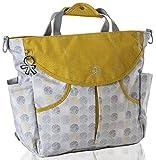 okiedog SUMO 39061 flexible Wickeltasche mit Henkel, Schultergurt, Rucksack, Kinderwagenhaken, Wickelunterlage, isol. Flaschenhalter und Zubehörbeutel, DotDotDot grau gold, ca. 47 x 40 x 14 cm