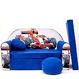 Kinder Sofa Couch Baby Schlafsofa Kinderzimmer Bett gemütlich verschidene Farben und motiven (C2 blau Rennautos)