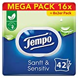 Tempo Sanft und Sensitiv feuchtes Toilettenpapier, Mega Pack, (16 x 42 Tücher)