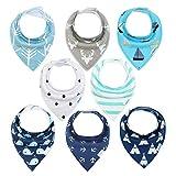 Baby Dreieckstuch 8er Lätzchen Halstücher Saugfähig Weich Baumwolle mit Druckknöpfen für Jungen...