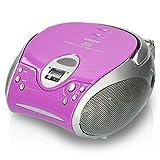 Lenco Radio CD-Player SCD-24 tragbares Stereo UKW-Radio mit CD-Player und Teleskopantenne in lila