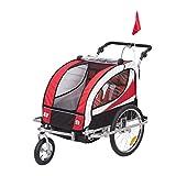 HOMCOM Kinderanhänger 2 in 1 Anhänger Fahrradanhänger Jogger 360° Drehbar für 2 Kinder...