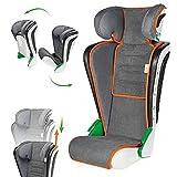 Walser Auto Kindersitz Noemi, klappbarer Kinderautositz mit höhenverstellbarer Kopfstütze, ECE R129 geprüft, mitwachsend 3-8 Jahre Anthrazit/Orange