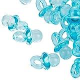 100 Hellblaue Mini Dekoschnuller - 2 cm - Schnuller für die Babyparty oder als Anhaenger - Babyschnuller aus Acryl - Kleenes Traumhandel