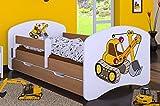 naka24 HB Kinderbett mit Matratze und Bettkasten - NEU, Verschiedene Motive Für Junge Buche...