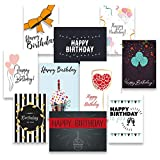30 Premium Geburtstagskarten und Umschläge - inklusive E-Paper mit den schönsten Geburtstagsgrüßen für den Selbstdruck - 10 hochwertige Geburtstagskartendesigns - 100% Made in Germany - von Davom