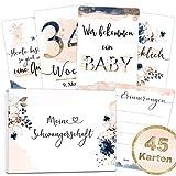 45 Schwangerschaft Meilensteinkarten Golden Glamour Splash schöne Geschenkidee zur Geburt, werdende Mutter, Babyparty Milestone Cards Meilenstein Karten Geschenkset + Geschenkbox - Ich bin Schwanger