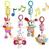 MOOKLIN ROAM Baby Kinderwagen Spielzeug, 4pcs Niedlich Plüschtier mit Glöckchen für Aufhängen zum Wiege, Bettchen oder Autositz - Früherziehung Spielzeug für Neugeborene und Kleinkinder