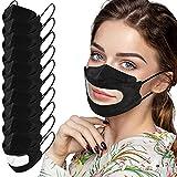 RUITOTP 10 Stück 𝙤𝙥 𝙢𝙚𝙙𝙞𝙯𝙞𝙣𝙞𝙨𝙘𝙝𝙚𝙧 𝙢𝙖𝙨𝙠𝙚𝙣 Gesichtsbedeckung mit transparentem Sichtfenster für Gehör und Schwerhörigkeit wiederverwendbar und waschbar Mundschutz
