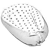 Babynest Neugeborene Nestchen Baby - Kokon Handmade zweiseitig aus Baumwolle mit Oeko-Tex Babynestchen (90 x 50 cm, graue Sterne auf Weiß)