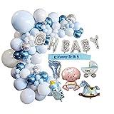Baby Shower Balloons Jungen,Gender Reveal für Mama Sein Geschlecht offenbaren Party Baby Dusche Girlande Party Dekoration (Blau)