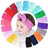 20 Stück Baby Mädchen Nylon-Stirnbänder Turban Haarbänder Elastisches Haar-Zubehör für Kinder Kleinkinder Säuglinge Neugeborene