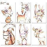 6er Set Poster Kinderzimmer,Yosemy DIN A4 Bilder Babyzimmer Dekoration für Mädchen Junge Deko Ohne Rahmen Tierbilder (Tierplakat 21*30cm)