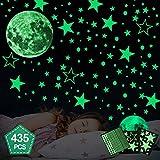 Hoiny Leuchtsticker Wandtattoo 435 Stück Sternenhimmel Leuchtsterne selbstklebend,Mond Wanddeko Aufkleber,fluoreszierende Leuchtsterne Punkten für Kinderzimmer,Baby, Kinder oder Schlafzimmer