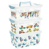 2friends Aufbewahrungsbox Kinder mit Deckel, 3 Stück Blau, mit Griff und Clickverschluss, L29 x B19,3 x H13 cm, 4 Liter, aus Kunststoff, Made in EU