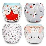 Flyish Packung mit 4 Baby Trainingshosen Töpfchen Unterwäsche Kleinkinder Windelhosen Toilettentraining Unterwäsche Entzückende Tiermuster Trainingshose