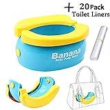Goglor Reise-Töpfchen für Babys, faltbar, tragbar, mit 20 Einweg-Einlagen für Jungen und Mädchen und Kleinkinder, Gelb Banana