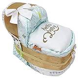 KLEINES Windelbettchen' hello baby' für Mädchen oder Jungen in beige hochwertig bestickt. Geschenk zur Geburt, Taufe oder Babyparty. Windeltorte
