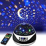 LED Sternenhimmel Projektor, Linkstyle 360° Rotierend Baby Nachtlicht mit Fernbedienung und Zeiteinstellung, Musik-Sternen Projektionslampe mit 8-Farbwechsel für Party Weihnachten Ostern Halloween