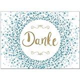 15 x Dankeskarten mit Umschlag - Konfetti blau - Danksagungskarten, Danke sagen, nach Hochzeit,...