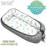 TINY STAR: Multifunktionales Babynest Nestchen, Reisebett Für Baby 2 - seitig Kuschelnest 0-6 Monate (Plumes Grey)