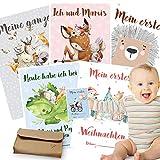 50 Baby Meilenstein Karten mit hochwertiger Filzhülle und Geschenkbox   schöne Geschenkidee zur Geburt, Schwangerschaft, Taufe oder Babyparty   Milestone Baby Cards   Meilensteinkarten Baby