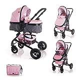 Lorelli Kinderwagen Alba 2 in 1 Sportsitz Babywanne Gummireifen, einstellbar, Farben:rosa