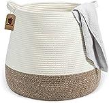 Goodpick Groß Baumwolle Seil Korb Aufbewahrung Spielzeugkorb für Kinder Wäschekorb für Decken im Schlafzimmer, BOHO Stil O38 x U46 x H41 cm