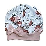 Sharlene Mütze Schleife Cremeweiß Rosenwiese (Rose Melange) Baby Mütze Beanie Mitwachsgrößen handgefertigt in Deutschland (45-49)
