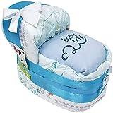 Kleines Windelbettchen baby boy für Jungen in blau hochwertig bestickt. Geschenk zur Geburt, Taufe oder Babyparty. Windeltorte