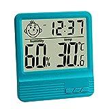 GuDoQi Elektronisches Digitales Nasses Thermometer Indoor Hause Desktop Thermometer Babyzimmer Elektronisches Hygrometer Mit Weckfunktion Blau
