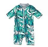 BONVERANO Baby Junge EIN stück Kurzärmel-Kleidung UV-Schutz 50+ Badeanzug MIT Einem Reißverschluss(Grüne-Die Blätter,3-6M)