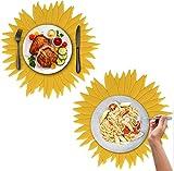 JAHEMU Platzset Sonnenblumen Tischset Silikon Platzdeckchen Gelb Abwaschbar Platz-Matten für Küche Hause Restaurant und Hotel, 2 Stück