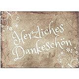 15 x Dankeskarten mit Umschlag - Vintage alt braun - Danksagungskarten, Danke sagen, nach Hochzeit, Geburt, Baby, Taufe, Geburtstag, Kommunion, Konfirmation, Jugendweihe