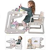 2 in 1 Kindertisch/Staffelei mit Stuhl Set, Kinder Aktivitätstisch Schreibtisch magnetische...