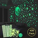 HOMMINI Leuchtsticker Wandtattoo 435/Leuchtpunkte selbstklebend und 30cm Mond Wandsticker für Sternenhimmel-selbstklebend und fluoreszierend Leuchtaufkleber für Kinderzimmer,Kinder oder Schlafzimmer