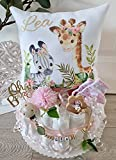 Windeltorte mit Name - Kuschelkissen Giraffe & Zebra I Schnullerkette & Greifling - Geschenk, Babyparty, Geburt oder Taufe + auf Wunsch, gratis Grußkärtchen