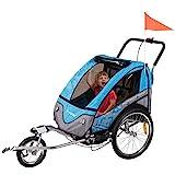 FROGGY Kinder Fahrradanhänger 360° Drehbar mit Federung + Joggerfunktion + 5-Punkt...