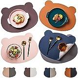 Senteen Tischset Kinder, 4pcs Platzmatten Abwaschbar Leder Tischuntersetzer Platzdecken Tisch...