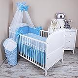Amilian® Baby Bettwäsche 5tlg Bettset mit Nestchen Kinderbettwäsche Himmel 100x135cm NEU Herzen Blau Chiffonhimmel