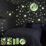 HOSPAOP Leuchtsticker Wandtattoo, 435 Stück Leuchtsterne Selbstklebend Punkten und Mond...
